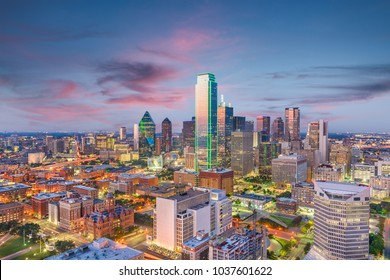 Dallas, Texas, USA skyline from above at dusk.