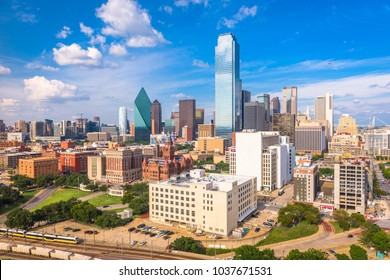 Dallas, Texas, USA skyline from above.