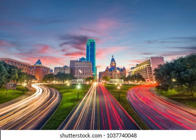 Dallas, Texas, USA skyline over Dealey Plaza at dawn.