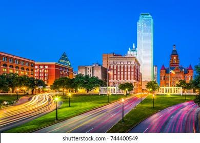 Dallas, Texas, USA skyline over Dealey Plaza.