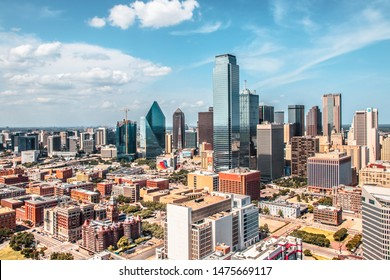 Dallas, Texas, USA-06 July 2019:Texas Dallas Downtown Panorama with blue sky on a sunny day