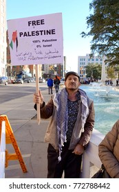 DALLAS, TEXAS, USA-DECEMBER 9, 2017: Palestinians protest Trump's Jerusalem policy in Dealey Plaza in Dallas, Texas on December 9, 2017.