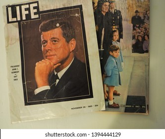 Dallas, Texas/USA - November 29, December 6, 1963 Life Magazine covers showiing John F. Kennedy, Jacqueline Kennedy, Caroline Kennedy and John Kennedy Jr. after JFK's assassination.