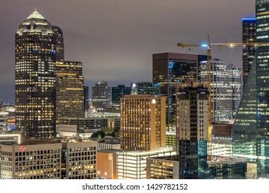 Dallas, TX / Dallas - 02-15-19: Top view of dallas skyline at night