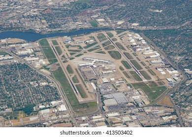 DALLAS, TX- 1 APRIL 2016- Aerial view of the Dallas Love Field (DAL) airport, location of the corporate headquarters of Southwest Airlines.