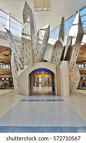 DALLAS, TX -23 JAN 2017- Inside the terminal at the Dallas/Fort Worth International Airport (DFW), the largest hub for American Airlines (AA). It has five terminals connected by Skylink.