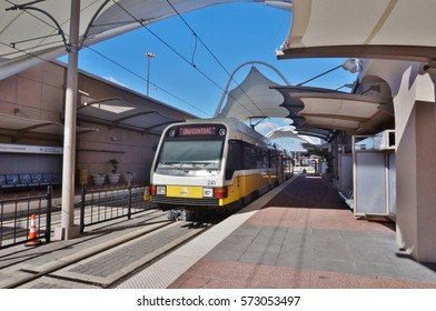 DALLAS, TX -23 JAN 2017- DART rail train going to the LBJ Central Station in Dallas, Texas.