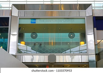 DALLAS, TX -28 MAR 2018- View of the American Express Centurion Lounge at the Dallas/Fort Worth International Airport (DFW).