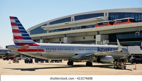 DALLAS, TX -3 APRIL 2016- The Skylink monorail connects terminals at the Dallas Fort Worth airport (DFW), a hub for American Airlines (AA).