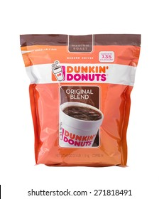 DALLAS, TX - APRIL 10, 2015: Illustrative editorial of one 40 ounce bag of Dunkin Donuts ground coffee.