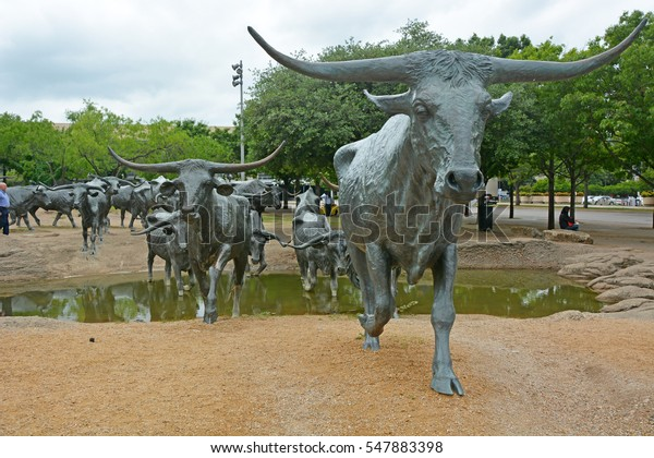 DALLAS, TX - APRIL 19: The Cattle Drive Sculpture at Pioneer Plaza in Dallas, Texas, as seen on April 19, 2016