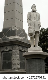 Dallas, TX - Dec. 28, 2015: The statue of U.S. Civil War General Stonewall Jackson at the Confederate War Memorial in Dallas'  Pioneer Park Cemetery. The controversial monument was dedicated in 1897.