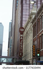Dallas, TX - January 6, 2013: Historic Majestic Theater Sign located in downtown Dallas Texas