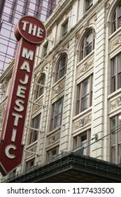 Dallas, TX - January 6, 2013: Historic Majestic Theater Sign located in downtown Dallas Texas