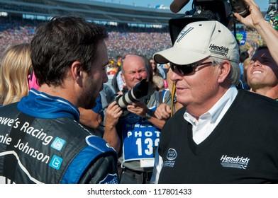 DALLAS, TX - NOVEMBER 04: Jimmie Johnson and Rick Hendrick (right) at the Nascar Sprint Cup AAA Texas 500 at Texas Motorspeedway in Dallas, TX on November 04, 2012