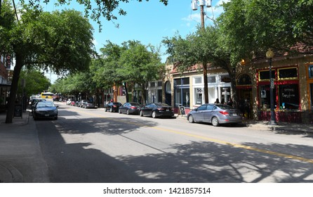 Dallas, TX / US - May 2018: Buildings in Bishop Arts district