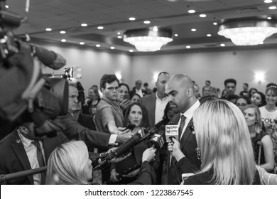 Dallas, TX / USA - 11 06 2018: Democrat Colin Allred Defeats Incumbent Pete Sessions for Texas House District 32 (2018 Midterm Elections)