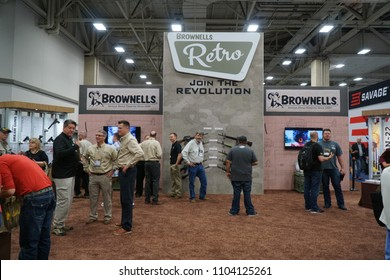 Dallas, TX / USA - 5/6/2018: Brownells gun exhibit is shown at the 147th NRA annual meeting held at the Kay Bailey Hutchisons convention center.