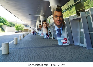 Dallas, TX / USA - 5/6/2018: Chris Cox's photo is shown outside of the147th NRA annual meeting held at the Kay Bailey Hutchisons convention center.