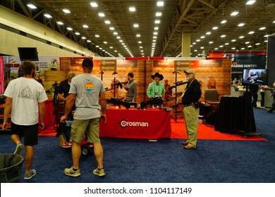 Dallas, TX / USA - 5/6/2018: Crosman air guns  booth is shown at the 147th NRA annual meeting held at the Kay Bailey Hutchisons convention center.