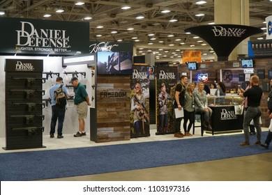 Dallas, TX / USA - 5/6/2018: The Daniel Defense booth is shown at the 147th NRA annual meeting held at the Kay Bailey Hutchisons convention center.