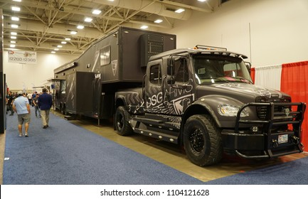 Dallas, TX / USA - 5/6/2018: The DSG Arms truck with trailer is parked inside the Kay Bailey Hutchisons convention center at the 147th NRA annual meeting.