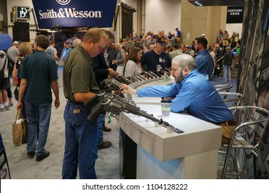 Dallas, TX / USA - 5/6/2018: Smith & Wesson handguns are displayed at the 147th NRA annual meeting held at the Kay Bailey Hutchisons convention center.
