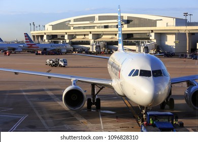 DALLAS, TX, USA - APR 3, 2018: Close Up of American Airlines Airplane on DFW Airport.