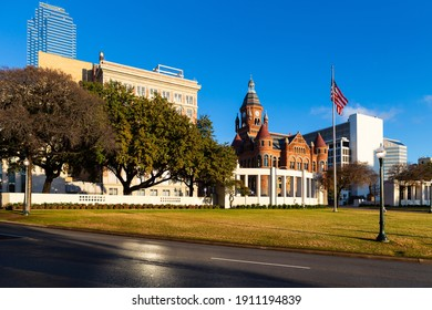 Dallas, TX, USA - December 22, 2013 : Dealey Plaza, city park inside Elm St.  Site of President John Fitzgerald Kennedy assassination in 1963.