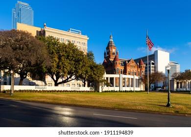 Dallas, TX, USA - December 22, 2013 : Dealey Plaza, city park inside Elm St.  Site of President John Fitzgerald Kennedy assassination in 1963.