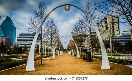 Dallas, TX, USA, December 8, 2012: High Dynamic Range (HDR) image of the Arch's designed by award winning landscape architect Jim Burnett at Klyde Warren Park in Dallas, TX