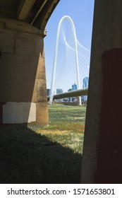 Dallas, TX, USA - July 2018: a picture of Margaret Hunt Hill Bridge by Santiago Calatrava taken under a bridge