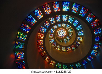 Dallas, TX, USA May 19, 2008 The spiraling stained glass windowed ceiling of the Thanks Giving Chapel recreates the Fibonacci sequence in Dallas, Texas