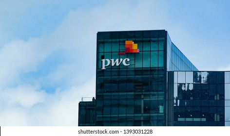 Dallas TX USA - May6 2019: Exterior sign for PWC Price Waterhouse Coopers accounting firm Dallas headquarters