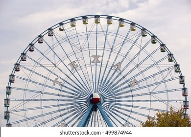 Dallas, TX USA Oct 13, 2016: At 212 feet, the Texas Star at the State Fair of Texas, is the tallest ferris wheel in Texas.  The fair runs annually at Fair Park during the first three weeks of October.