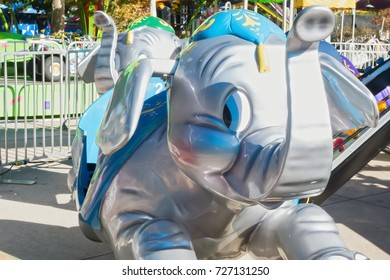 Dallas, TX USA Oct 13, 2014:  Baby elephant ride in the children's rides area of the State Fair of Texas at Fair Park, in Dallas, TX., running annually during the first three weeks of October.