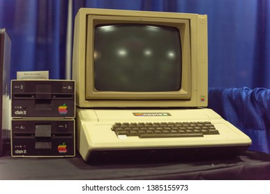 DALLAS, TX, USA-APR 26, 2019: Apple II computer with foam-molded plastic case. It was the first consumer product sold by Apple Computer, Inc, designed primarily by Steve Wozniak by 1977