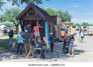 DALLAS, TX, US-APR 26, 2019: Tiny houses at EarthX environmental protection annual festival in Fair Park celebrate progress, hope, innovation towards a more sustainable future. Nonprofit organization