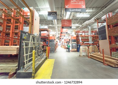 DALLAS, TX, US-DEC 1, 2018: Customer shopping inside Home Depot store, American home improvement supplies retailing company that sells tools, construction products, and services