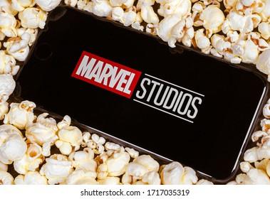 Dallas, TX/USA April 2020: Marvel studios logo on smartphone screen. Marvel studios produces movies centered around marvel comic book superheroes.