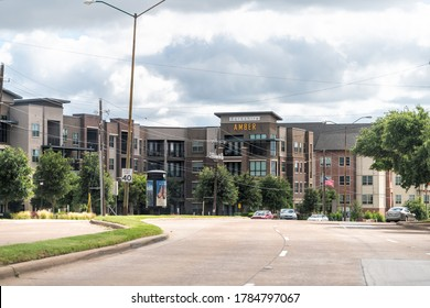 Dallas, USA - June 7, 2019: Downtown area in Addison district of city with building sign for Berkshire Amber apartment complex modern architecture