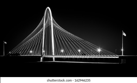 DALLAS, USA - OCTOBER 23: Margaret Hunt Hill bridge by night on October 23, 2013 in Dallas, USA. Margaret Hunt Hill Bridge is a Santiago Calatrava-designed bridge built over the Trinity River.