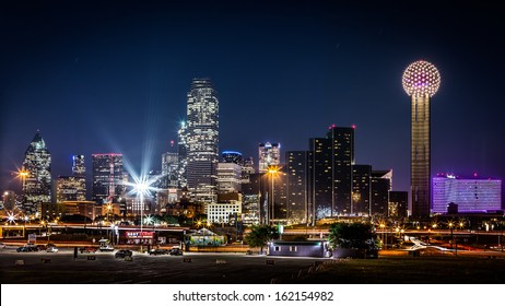 DALLAS, USA - OCTOBER 23: Dallas skyline by night with the Bank of America and Reunion Tower among other skyscrapers on October 23, 2013 in Dallas, USA.