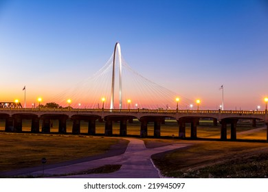 DALLAS, USA - SEPTEMBER 23: Margaret Hunt Hill bridge by night on September 23, 2014 in Dallas, USA. Margaret Hunt Hill Bridge is a Santiago Calatrava-designed bridge built over the Trinity River.