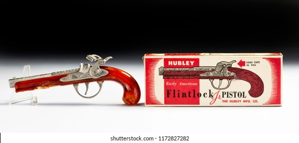 Dallas,Texas  Sept.5-2018   Old Hubley flintlock toy cap pistol made in the 1950's with original box..