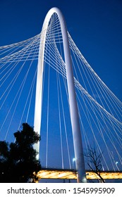 Dallas,Texas / USA - October 4 2019 Margaret Hunt Hill Bridge at Dusk