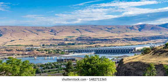 The Dalles Dam on the Columbia River at TheDalles, And the Columbia River Bridge, Oregon