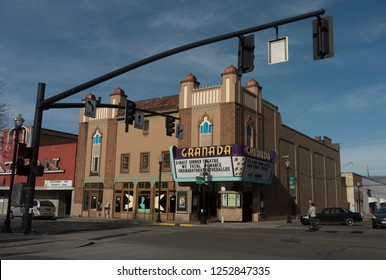 The Dalles, Oregon, USA, 2/10/2018. This is the Granada Theater in The Dalles, Oregon.  It has recently reopened after a renovation, and after having been closed for years.
