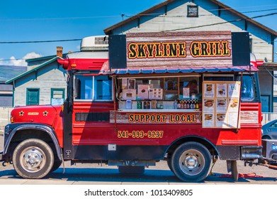 The Dalles, Oregon USA - April 2, 2015:  Skyline Grill food truck sporting menues and beers on the street in downtown The Dalles, Oregon,