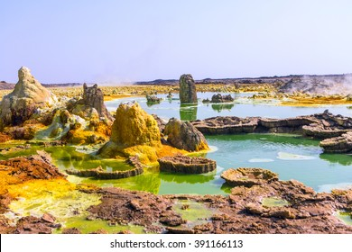 Dallol lake, Danakil depression, Ethiopia: lake Dallol and its sulphur springs is the hottest place on Earth, with average temperature around 95 Fahrenheit.